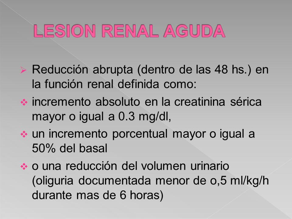 Reducción abrupta (dentro de las 48 hs.) en la función renal definida como: incremento absoluto en la creatinina sérica mayor o igual a 0.3 mg/dl, un