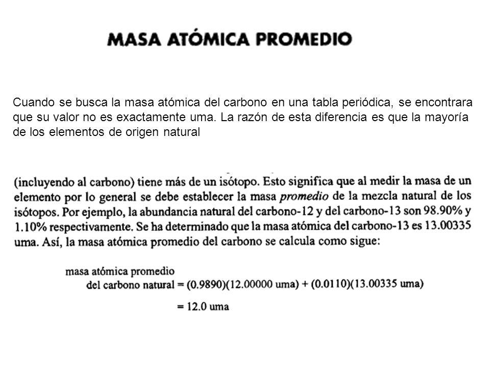 Cuando se busca la masa atómica del carbono en una tabla periódica, se encontrara que su valor no es exactamente uma. La razón de esta diferencia es q