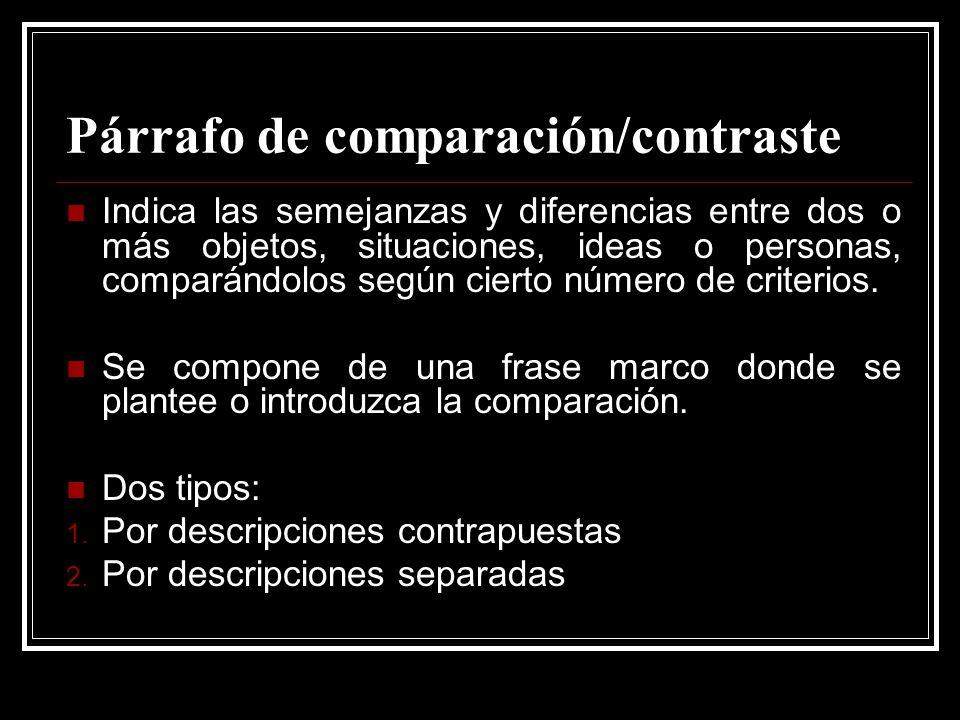Párrafo de comparación/contraste Indica las semejanzas y diferencias entre dos o más objetos, situaciones, ideas o personas, comparándolos según ciert