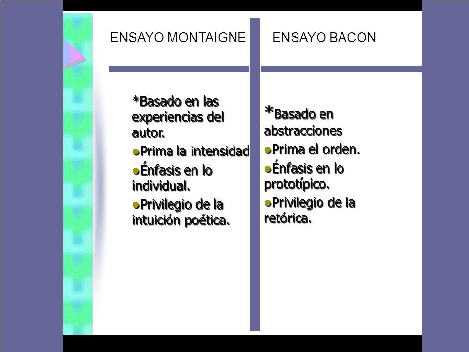 ENSAYO MONTAIGNE ENSAYO BACON *Basado en las experiencias del autor. Prima la intensidad. Prima la intensidad. Énfasis en lo individual. Énfasis en lo