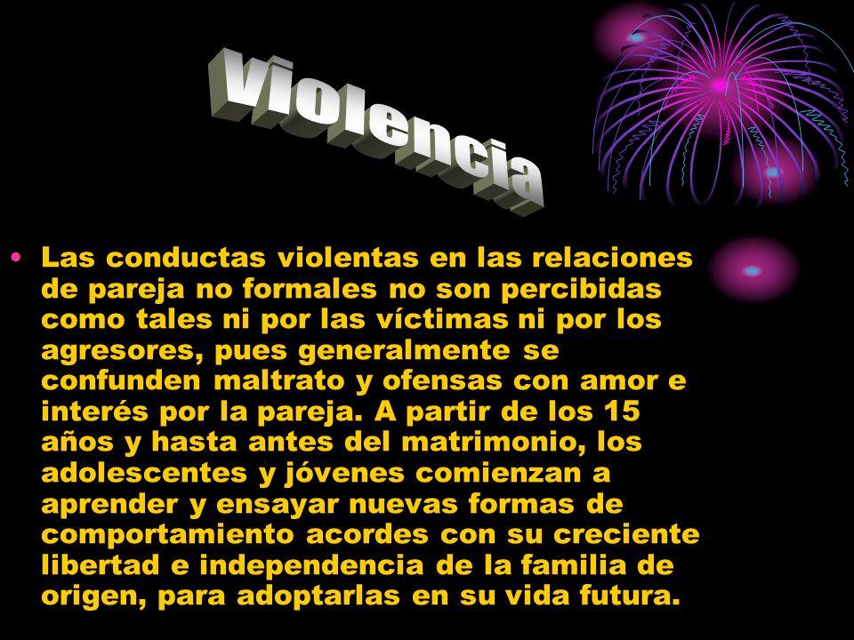 Las conductas violentas en las relaciones de pareja no formales no son percibidas como tales ni por las víctimas ni por los agresores, pues generalmen