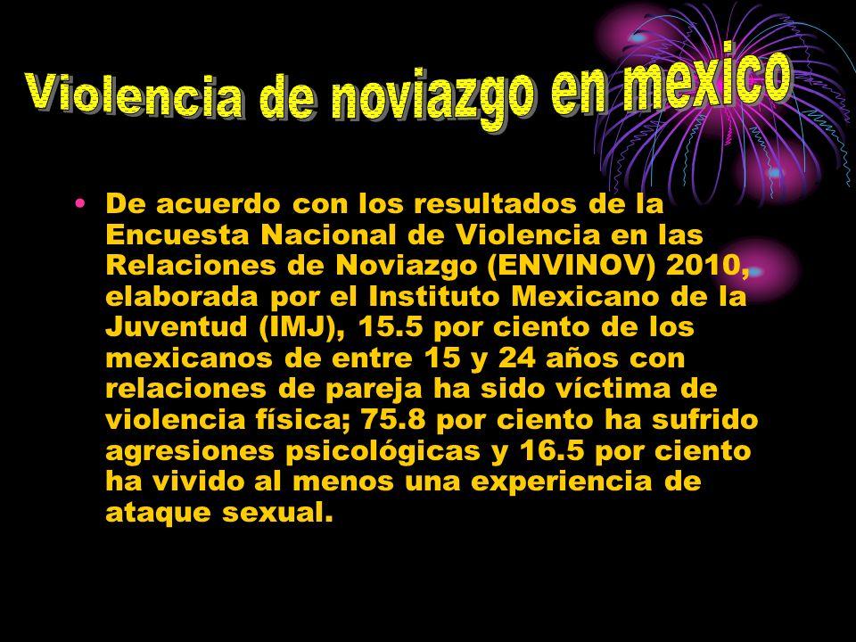 De acuerdo con los resultados de la Encuesta Nacional de Violencia en las Relaciones de Noviazgo (ENVINOV) 2010, elaborada por el Instituto Mexicano d