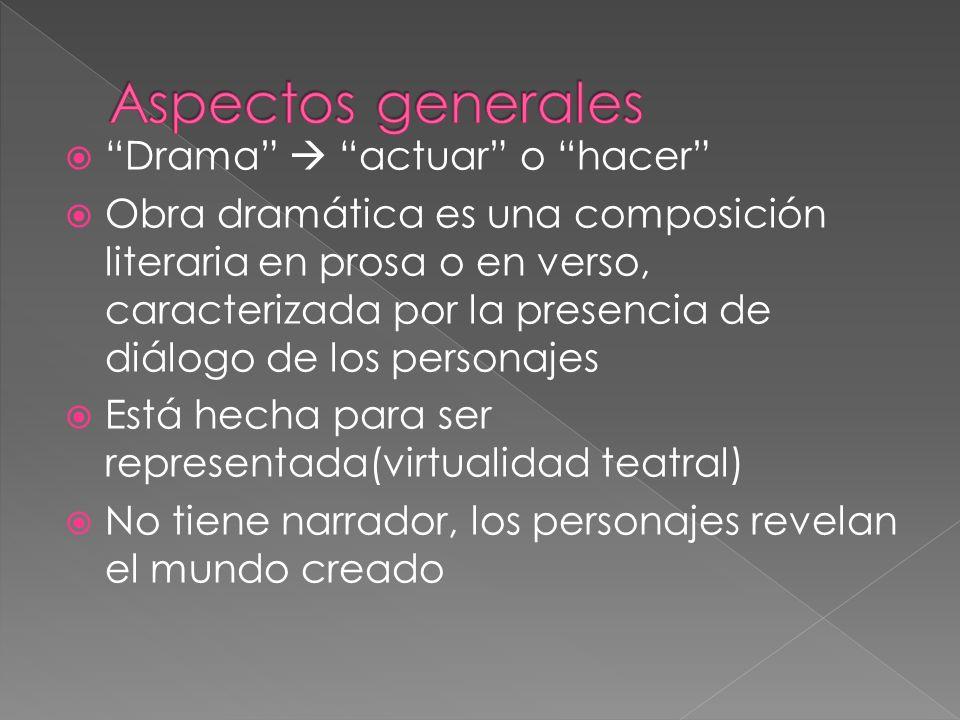 Drama actuar o hacer Obra dramática es una composición literaria en prosa o en verso, caracterizada por la presencia de diálogo de los personajes Está