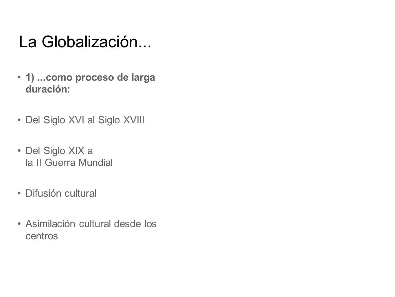 La Globalización... 1)...como proceso de larga duración: Del Siglo XVI al Siglo XVIII Del Siglo XIX a la II Guerra Mundial Difusión cultural Asimilaci