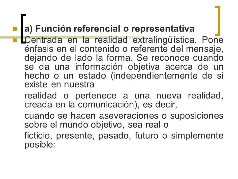a) Función referencial o representativa Centrada en la realidad extralingüística. Pone énfasis en el contenido o referente del mensaje, dejando de lad