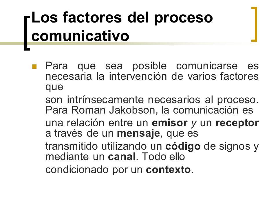 Los factores del proceso comunicativo Para que sea posible comunicarse es necesaria la intervención de varios factores que son intrínsecamente necesar