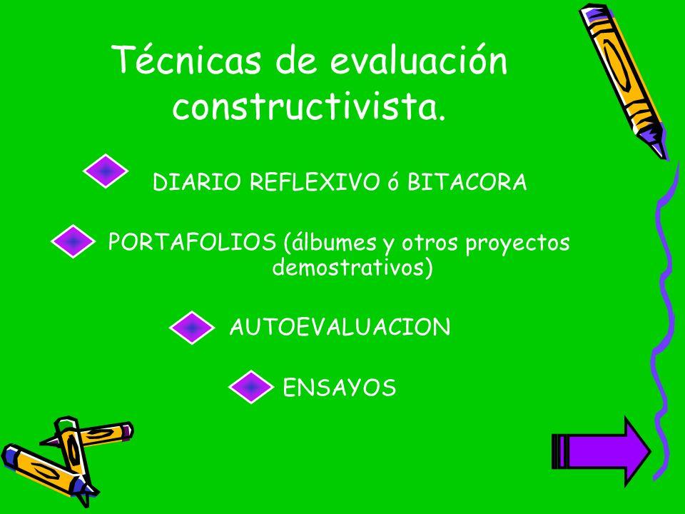 Técnicas de evaluación constructivista. DIARIO REFLEXIVO ó BITACORA PORTAFOLIOS (álbumes y otros proyectos demostrativos) AUTOEVALUACION ENSAYOS