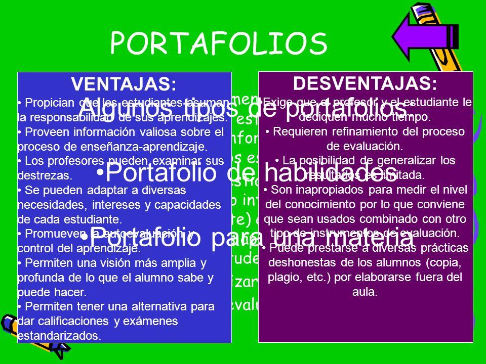 PORTAFOLIOS Es una colección de documentos del trabajo del estudiante que exhibe su esfuerzo, progreso y logros. En el cual se recopila la información