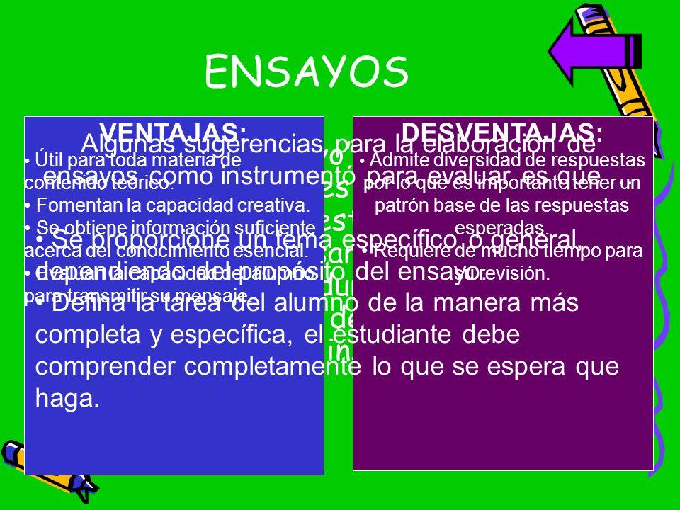 ENSAYOS La palabra ensayo para designar los textos o exámenes escritos de respuesta libre; esta técnica en la que el alumno desarrolla un tema o unas