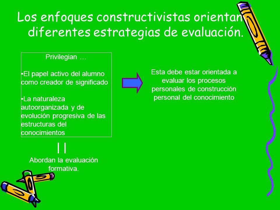 Los enfoques constructivistas orientan diferentes estrategias de evaluación. Privilegian … El papel activo del alumno como creador de significado La n