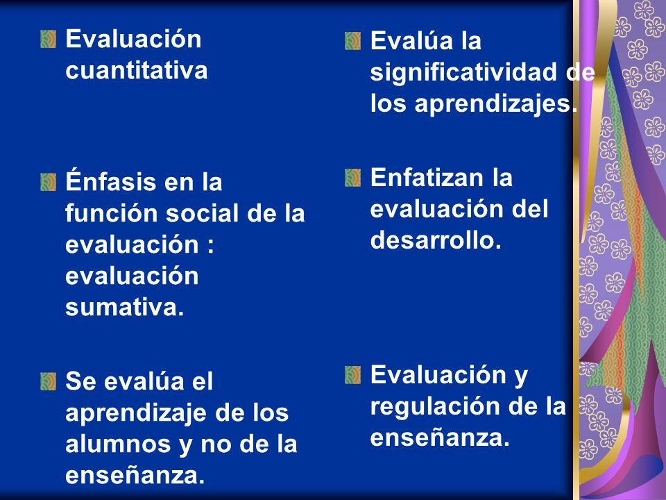 Evaluación cuantitativa Énfasis en la función social de la evaluación : evaluación sumativa. Se evalúa el aprendizaje de los alumnos y no de la enseña