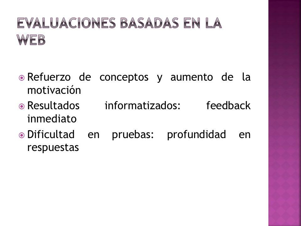 Refuerzo de conceptos y aumento de la motivación Resultados informatizados: feedback inmediato Dificultad en pruebas: profundidad en respuestas