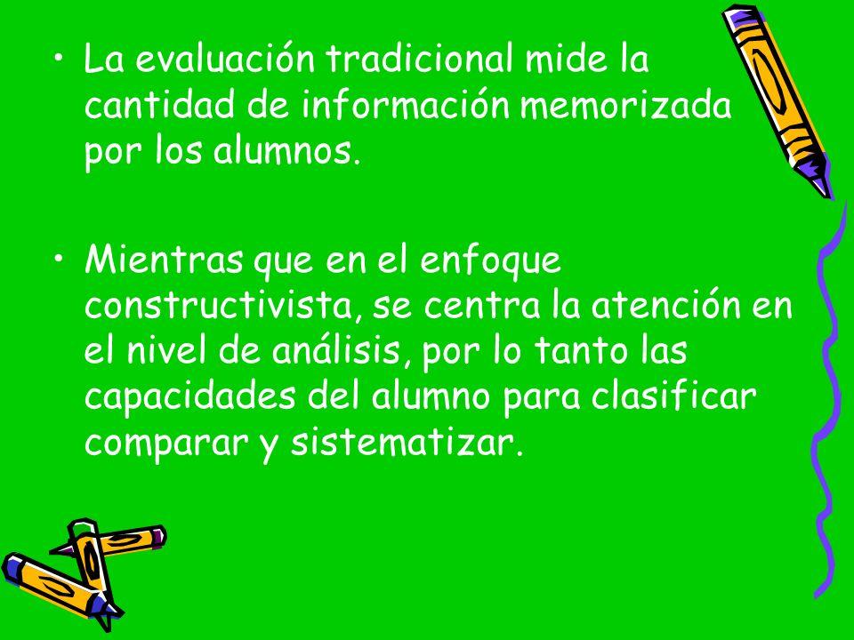 La evaluación tradicional mide la cantidad de información memorizada por los alumnos. Mientras que en el enfoque constructivista, se centra la atenció