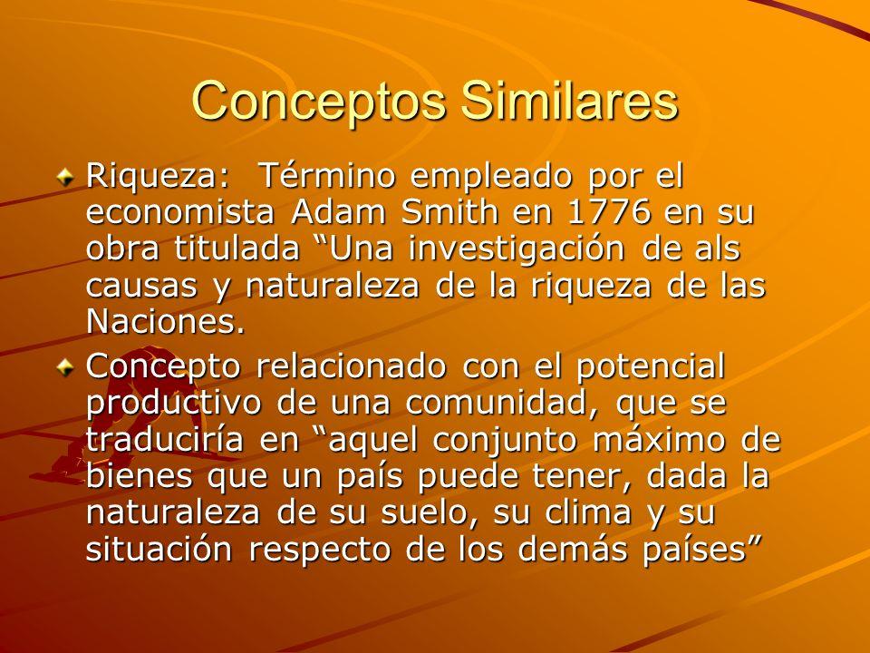 Conceptos Similares Riqueza: Término empleado por el economista Adam Smith en 1776 en su obra titulada Una investigación de als causas y naturaleza de
