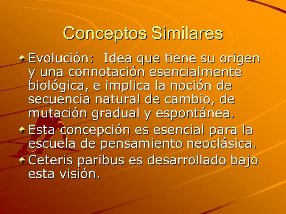 Conceptos Similares Evolución: Idea que tiene su origen y una connotación esencialmente biológica, e implica la noción de secuencia natural de cambio,