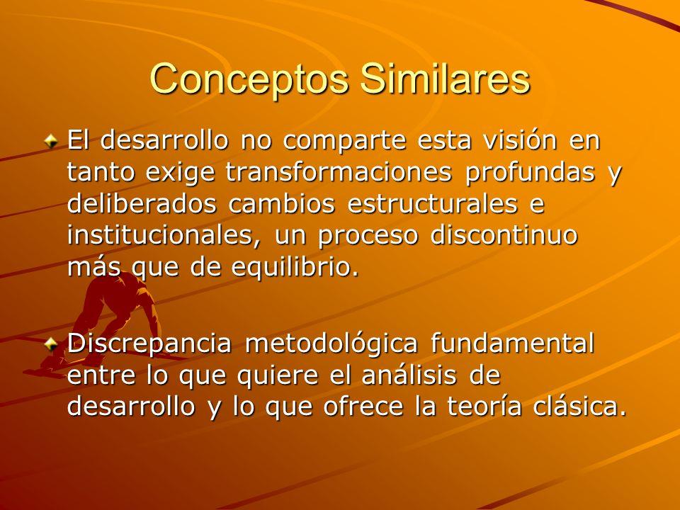 Conceptos Similares El desarrollo no comparte esta visión en tanto exige transformaciones profundas y deliberados cambios estructurales e instituciona