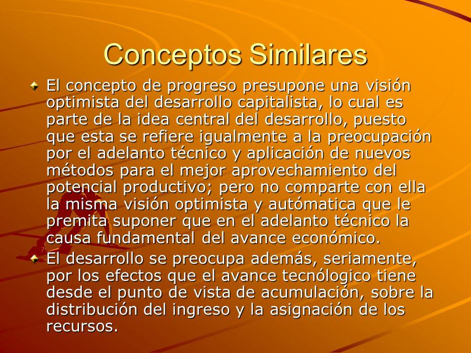 Conceptos Similares El concepto de progreso presupone una visión optimista del desarrollo capitalista, lo cual es parte de la idea central del desarro