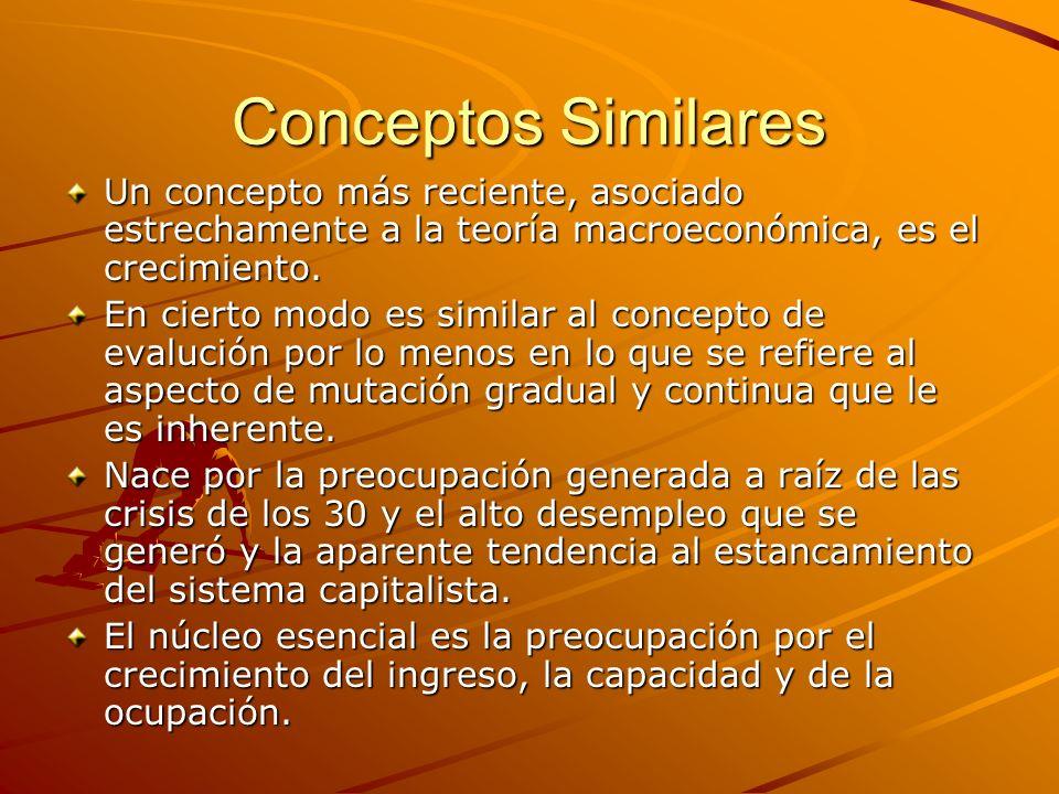 Conceptos Similares Un concepto más reciente, asociado estrechamente a la teoría macroeconómica, es el crecimiento. En cierto modo es similar al conce