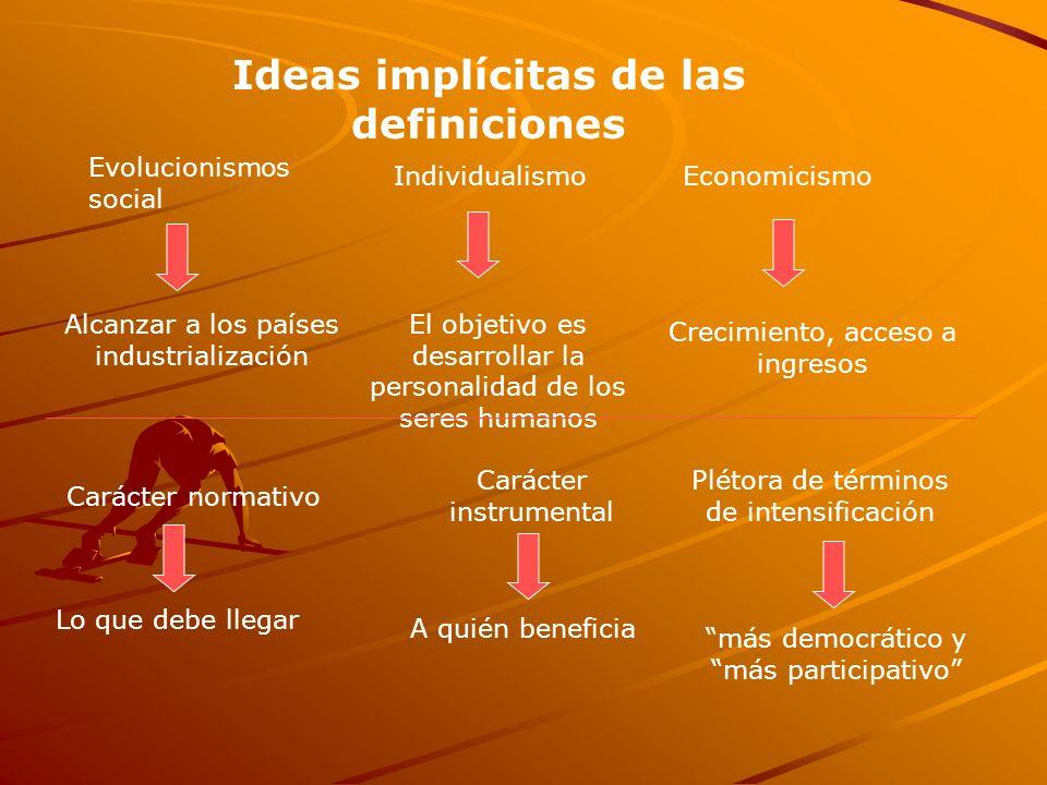 Evolucionismos social IndividualismoEconomicismo Carácter instrumental Ideas implícitas de las definiciones Carácter normativo Alcanzar a los países i