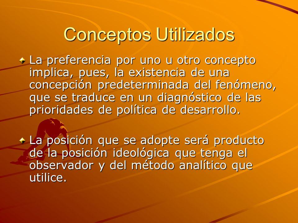 Conceptos Utilizados La preferencia por uno u otro concepto implica, pues, la existencia de una concepción predeterminada del fenómeno, que se traduce