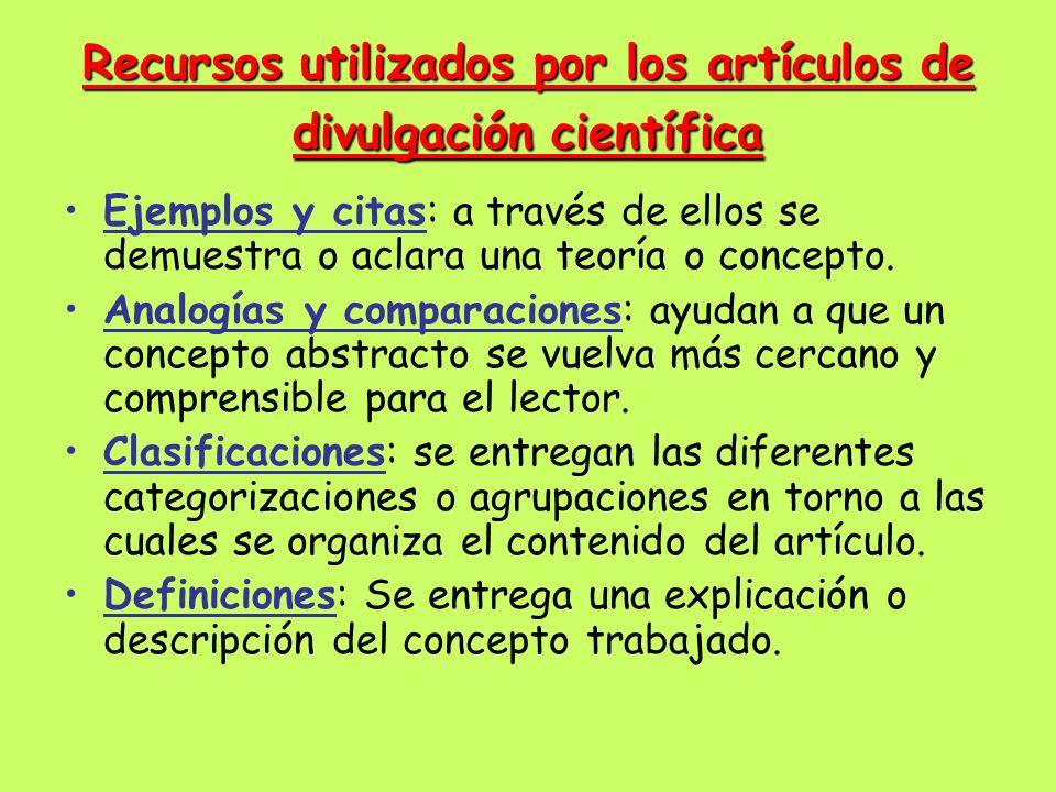 Recursos utilizados por los artículos de divulgación científica Ejemplos y citas: a través de ellos se demuestra o aclara una teoría o concepto. Analo