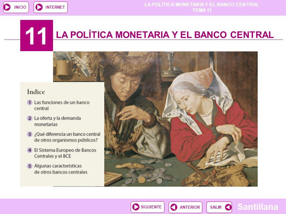 LA POLÍTICA MONETARIA Y EL BANCO CENTRAL TEMA 11 Santillana ANTERIORSIGUIENTE INICIOINTERNET 11 LA POLÍTICA MONETARIA Y EL BANCO CENTRAL