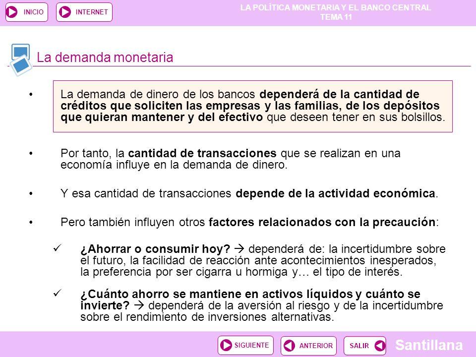 LA POLÍTICA MONETARIA Y EL BANCO CENTRAL TEMA 11 Santillana ANTERIORSIGUIENTE INICIOINTERNET La demanda de dinero de los bancos dependerá de la cantid