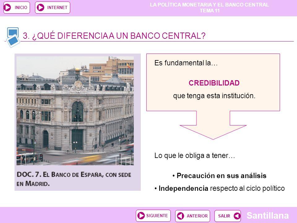 LA POLÍTICA MONETARIA Y EL BANCO CENTRAL TEMA 11 Santillana ANTERIORSIGUIENTE INICIOINTERNET 3. ¿QUÉ DIFERENCIA A UN BANCO CENTRAL? Es fundamental la…