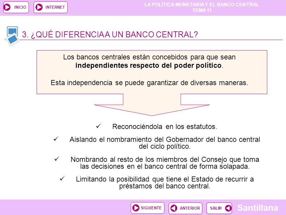 LA POLÍTICA MONETARIA Y EL BANCO CENTRAL TEMA 11 Santillana ANTERIORSIGUIENTE INICIOINTERNET Los bancos centrales están concebidos para que sean indep