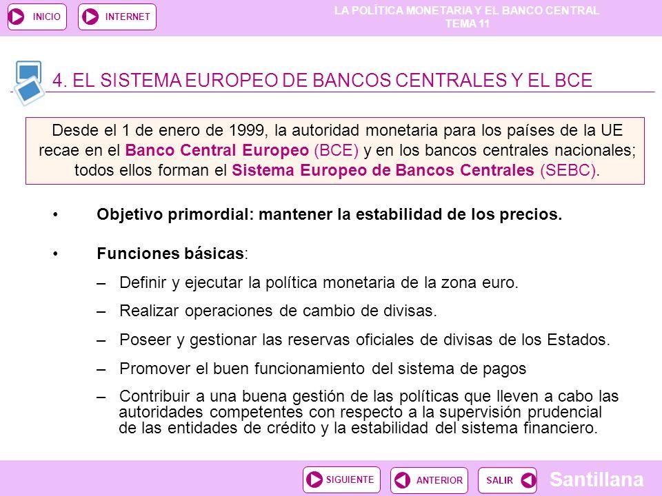 LA POLÍTICA MONETARIA Y EL BANCO CENTRAL TEMA 11 Santillana ANTERIORSIGUIENTE INICIOINTERNET Objetivo primordial: mantener la estabilidad de los preci