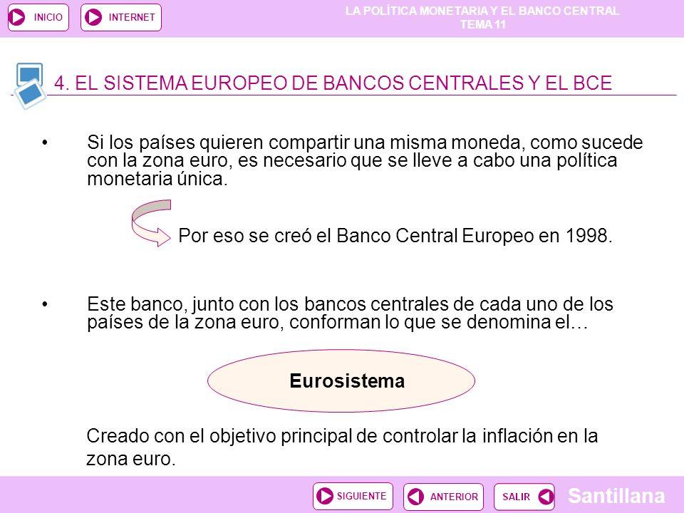 LA POLÍTICA MONETARIA Y EL BANCO CENTRAL TEMA 11 Santillana ANTERIORSIGUIENTE INICIOINTERNET Si los países quieren compartir una misma moneda, como su