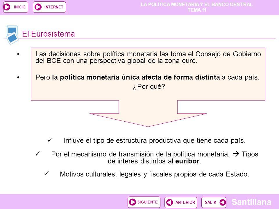 LA POLÍTICA MONETARIA Y EL BANCO CENTRAL TEMA 11 Santillana ANTERIORSIGUIENTE INICIOINTERNET Las decisiones sobre política monetaria las toma el Conse