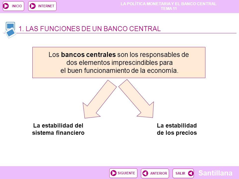 TEMA 11 Santillana ANTERIORSIGUIENTE INICIOINTERNET 1. LAS FUNCIONES DE UN BANCO CENTRAL La estabilidad del sistema financiero Los bancos centrales so