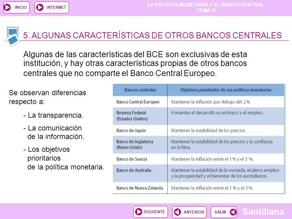 LA POLÍTICA MONETARIA Y EL BANCO CENTRAL TEMA 11 Santillana ANTERIORSIGUIENTE INICIOINTERNET Algunas de las características del BCE son exclusivas de