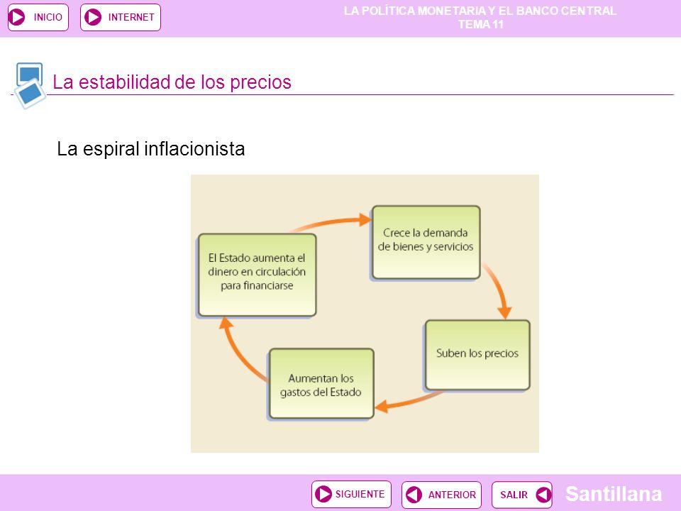 LA POLÍTICA MONETARIA Y EL BANCO CENTRAL TEMA 11 Santillana ANTERIORSIGUIENTE INICIOINTERNET La estabilidad de los precios La espiral inflacionista