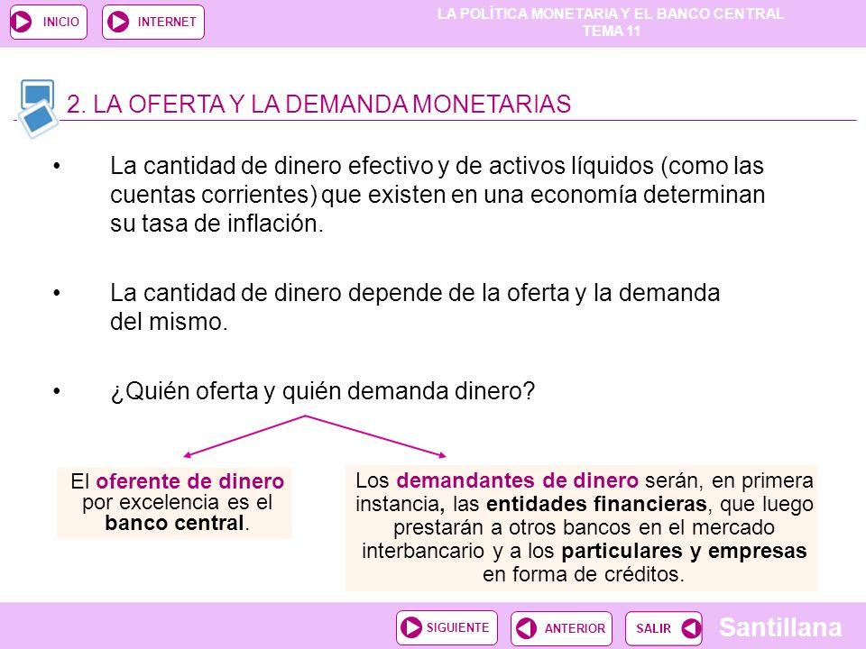 LA POLÍTICA MONETARIA Y EL BANCO CENTRAL TEMA 11 Santillana ANTERIORSIGUIENTE INICIOINTERNET La cantidad de dinero efectivo y de activos líquidos (com