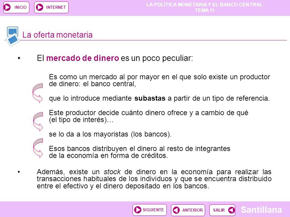 LA POLÍTICA MONETARIA Y EL BANCO CENTRAL TEMA 11 Santillana ANTERIORSIGUIENTE INICIOINTERNET El mercado de dinero es un poco peculiar: Es como un merc