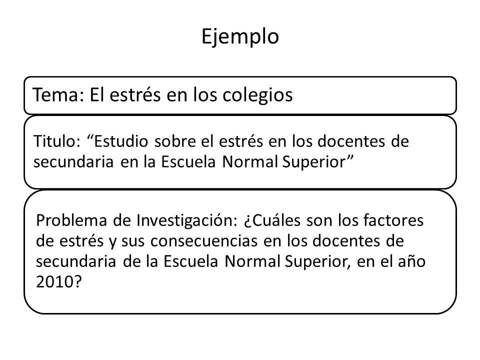 Ejemplo Tema: El estrés en los colegios Titulo: Estudio sobre el estrés en los docentes de secundaria en la Escuela Normal Superior Problema de Invest