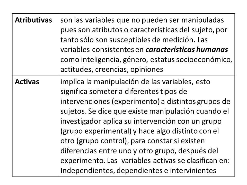Atributivasson las variables que no pueden ser manipuladas pues son atributos o características del sujeto, por tanto sólo son susceptibles de medició
