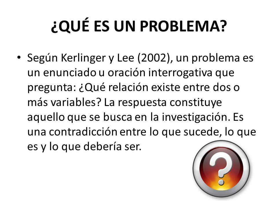 ¿QUÉ ES UN PROBLEMA? Según Kerlinger y Lee (2002), un problema es un enunciado u oración interrogativa que pregunta: ¿Qué relación existe entre dos o