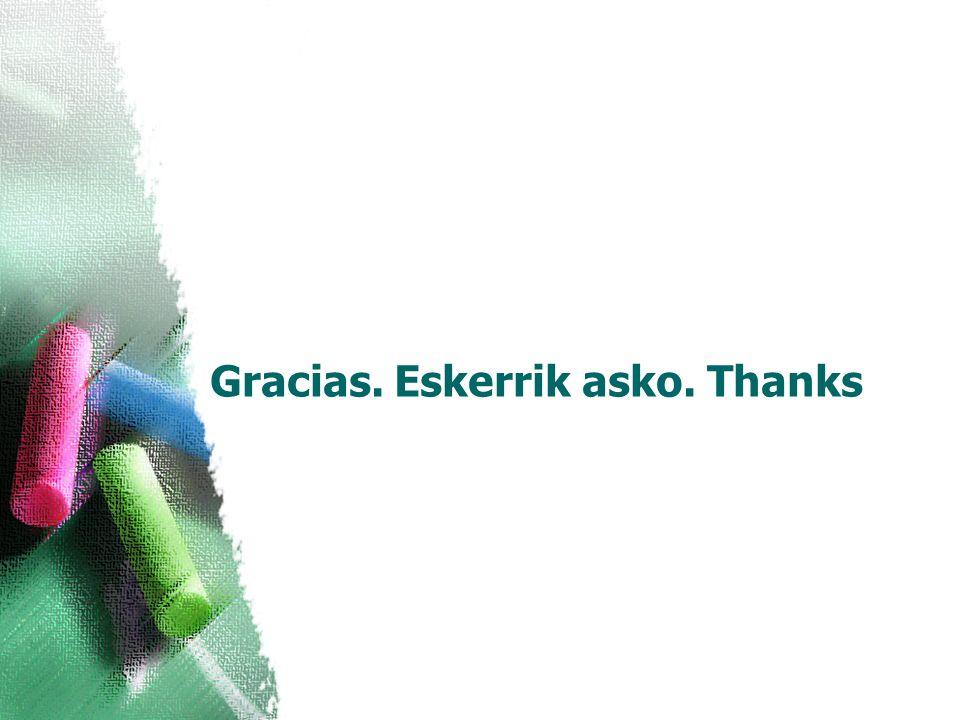 Gracias. Eskerrik asko. Thanks