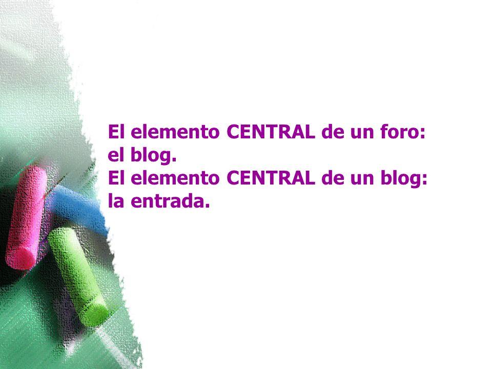 El elemento CENTRAL de un foro: el blog. El elemento CENTRAL de un blog: la entrada.
