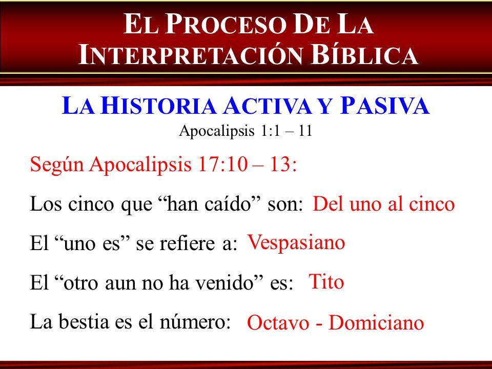 Según Apocalipsis 17:10 – 13: Los cinco que han caído son: El uno es se refiere a: El otro aun no ha venido es: La bestia es el número: E L P ROCESO D