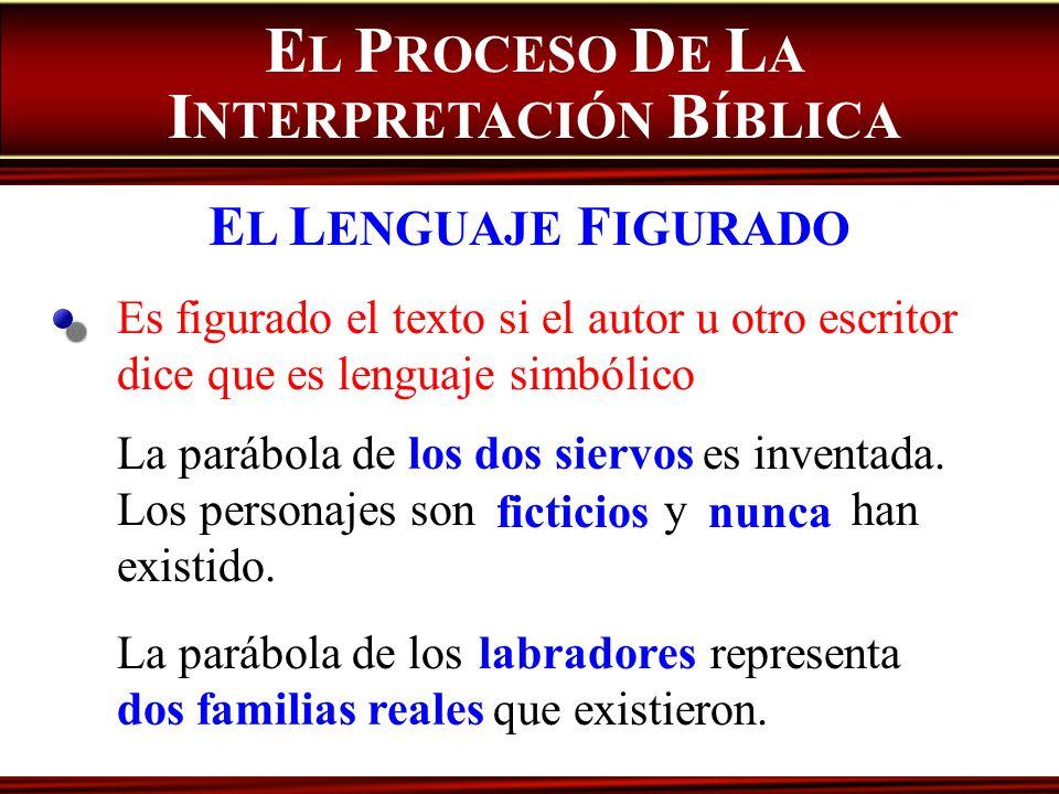 Es figurado el texto si el autor u otro escritor dice que es lenguaje simbólico La parábola de es inventada. Los personajes son y han existido. E L P