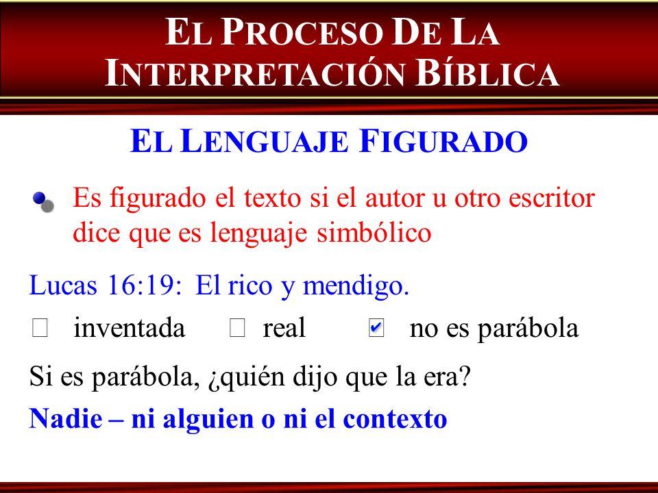 Es figurado el texto si el autor u otro escritor dice que es lenguaje simbólico E L P ROCESO D E L A I NTERPRETACIÓN B ÍBLICA E L L ENGUAJE F IGURADO