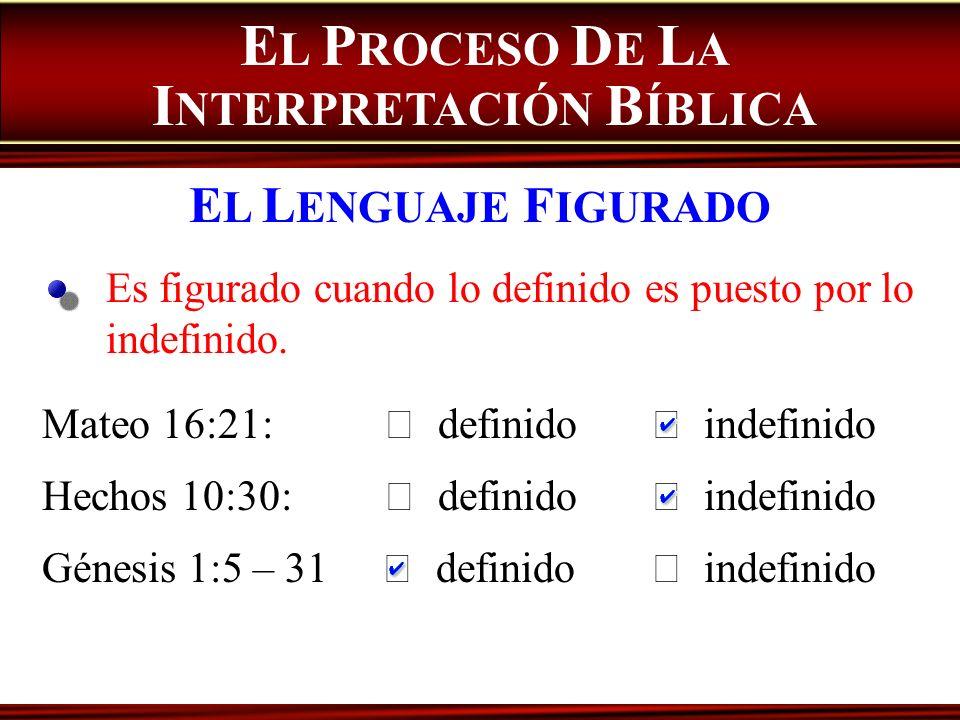 Es figurado cuando lo definido es puesto por lo indefinido. E L P ROCESO D E L A I NTERPRETACIÓN B ÍBLICA E L L ENGUAJE F IGURADO Mateo 16:21: definid