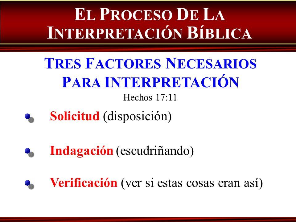E L P ROCESO D E L A I NTERPRETACIÓN B ÍBLICA T RES F ACTORES N ECESARIOS P ARA I NTERPRETACIÓN Hechos 17:11 Solicitud (disposición) Indagación (escud