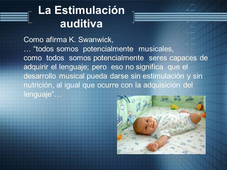 La Estimulación auditiva Como afirma K. Swanwick, … todos somos potencialmente musicales, como todos somos potencialmente seres capaces de adquirir el