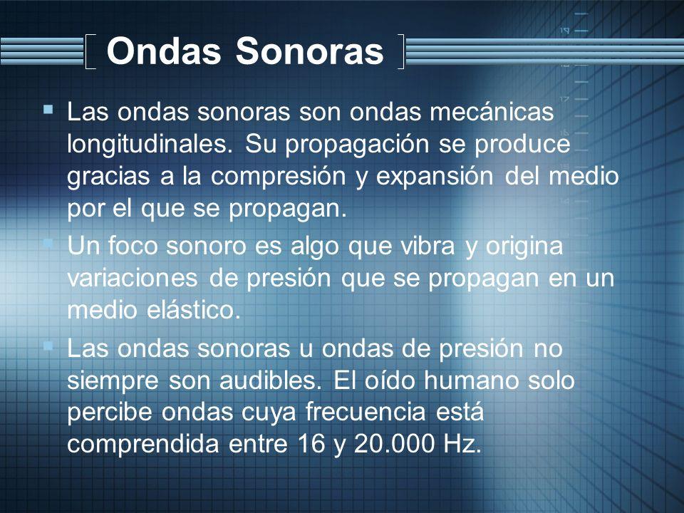Ondas Sonoras Las ondas sonoras son ondas mecánicas longitudinales. Su propagación se produce gracias a la compresión y expansión del medio por el que