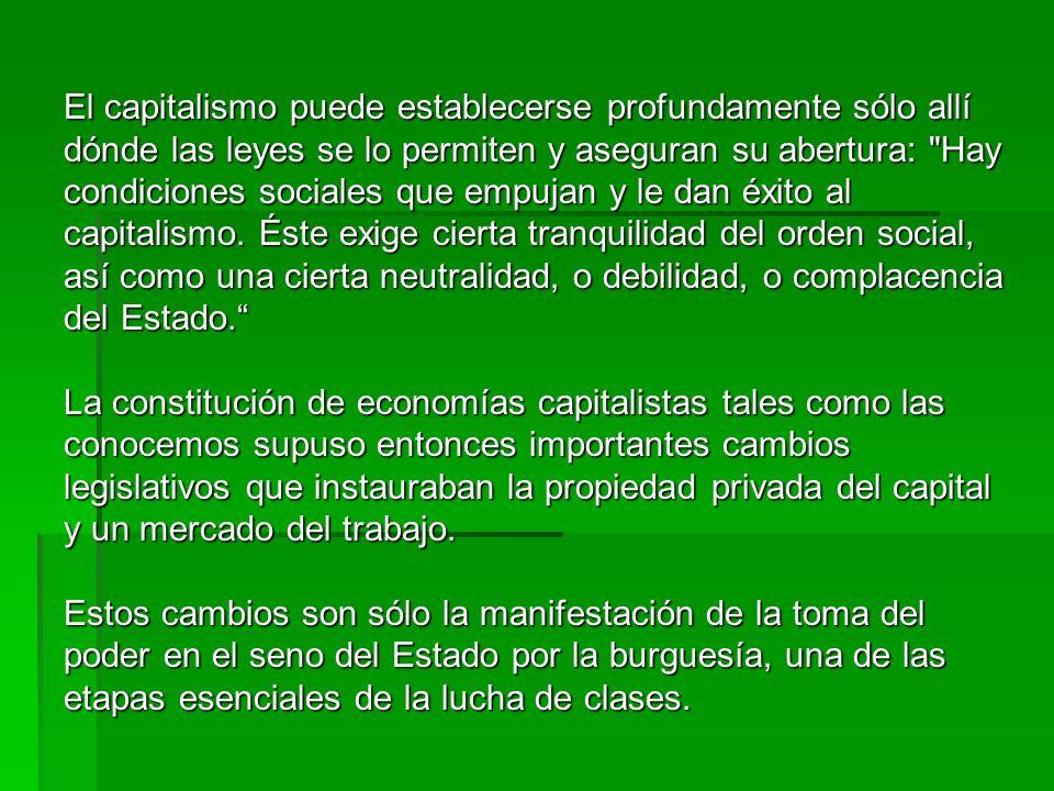El capitalismo puede establecerse profundamente sólo allí dónde las leyes se lo permiten y aseguran su abertura: